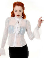 Banned Steampunk Key Victorian Gothic Sheer Floral Lace Frill Shirt Blouse
