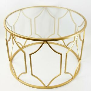 Round metal table with Glass Top Gold Finish 40 cm height