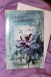 1 Grußkarte - Zur Silberhochzeit + Umschlag - Ehe 25 Jahre Grüße basteln OVP 2