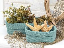 Sea Spray Modé Crochet Rectangle Basket, 8x5x6, Food Safe, Machine Washable