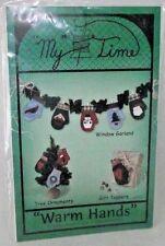 My Time Mittens Warm Hands Paper Foundation Garland Ornament Gift Folk Art NEW