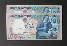 Portugal - Lot of 2 Running Numbers of 100 Escudos 1980 - *KEY DATE - AUNC.*