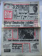 Bild Zeitung, Dienstag den 6.7.1982,  Höchste Arbeitslosigkeit seit 1950,