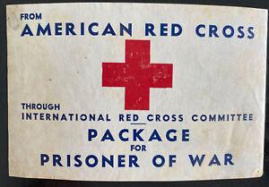 Original American Red Cross Label Tag Package For Prisoner Of War POW