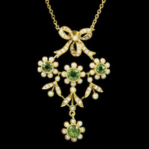 Antique Edwardian Pearl Peridot Diamond Pendant Necklace 18ct Y Gold Over c.1910
