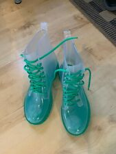 Transparent Green Festival Wellies New - Size 5