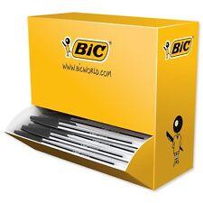 100 X Negro Bic Biro Bolígrafos Cristal Cristal Bolígrafos 1.0mm Punta 0.4mm línea