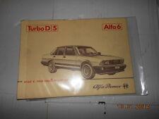 Alfa Romeo Alfa 6 TurboD 5 Turbo D Diesel 5 libretto uso e manutenzione d'epoca