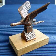 Cigogne Bronze Régule Cuivré Vissée Socle Bois 8 x 7 Cm -125 Grs Manque Bec Coll