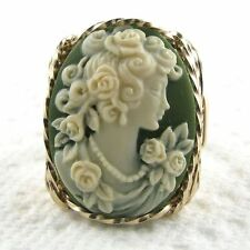 Rose Grecian Goddess Cameo Ring 14K Rolled Gold Jewelry Green Resin Any Size