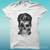 """T-SHIRT """" TESCHIO SKULL DAVID BOWIE """"BIANCO THE HAPPINESS IS HAVE MY T-SHIRT NEW"""