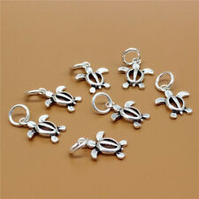 10 Sterling Silver Small Sea Ocean Turtle Charms 925 Silver for Bracelet