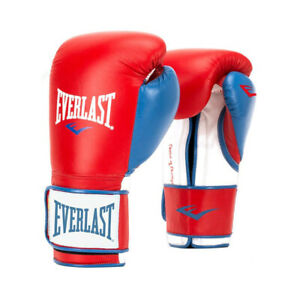 Everlast P00000730 16 Ounce Powerlock Hook & Loop Training Gloves, Red and Blue