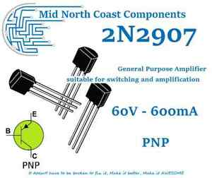 2/5/10pc 2N2907 60V - 600mA - 625mW PNP Linear Switching Amp Transistor TO-92