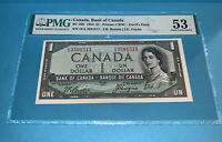 PMG Canada, Bank of Canada 1954 $1 Banknote About UNC53 BC-29b