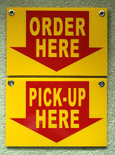 ORDER HERE &  PICK-UP HERE Plastic Coroplast SIGNS 8X12 w/Grommets Restaurant y