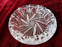 """VINTAGE CLEAR CRYSTAL GLASS CIGAR ASHTRAY 3 SLOT ETCHED STARBURST 7"""" 3.4LBS"""