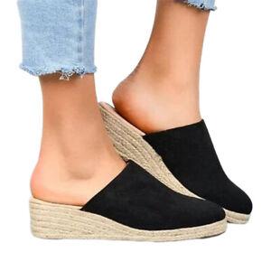 Summer New Beach Womens Open-Toe Platform Wedge Sandals Muller Slippers Oversize