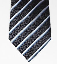 "Tom English pure silk tie black white grey woven stripes leafy pattern 61"" long"