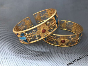 75mm Rare Old China Bronze Filigree 24K Gilt Gold Bracelet Bangle Jewelry