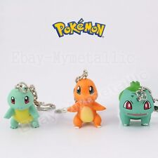 3pcs Pokemon Squirtle Charmander Bulbasaur PVC Figure with Key Ring Chain Loose