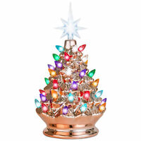 BCP 9.5in Pre-Lit Hand-Painted Ceramic Tabletop Christmas Tree