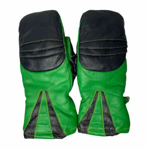 Vintage Mens ZERO Green Black Leather Snowmobile Gloves Sherpa Lined Large USA