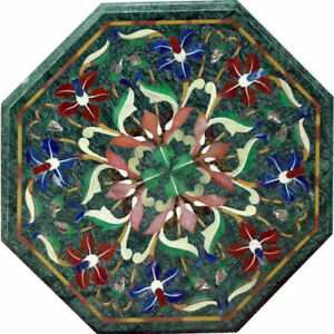 "18"" Green marble table top semi precious stones inlay art"