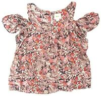 Anthropologie Women's Size XS Maeve Hana Floral Open Cold Shoulder Top Blouse