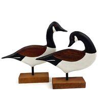Vtg Handmade Wood Carved Set Of 2 Canadian Geese Goose Artist Signed Primitive