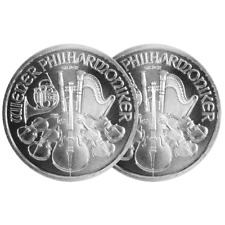Lot of 2 - 2016 1.50 Euro Silver Austrian Philharmonic 1 oz BU