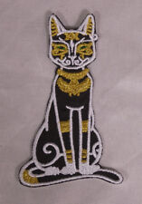 Embroidered Black Gold Egyptian Goddess Cat Queen Bastet Patch Applique Iron On