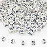 100/200/500 White Alphabet Cube Beads Jewellery Dummy Clips Mixed Letters 6mm