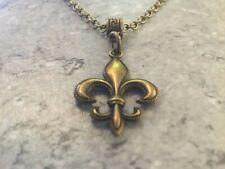 """Fluer De Lis Bronze Pendant & Necklace Toggle Clasp & Bar 18"""""""