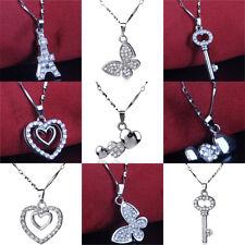 Shiny Crystal Rhinestone Pendants Heart Tower Charms Necklace Women Jewelry New
