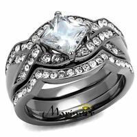 Women's 2.2 Ct Princess Cut CZ Light Black Stainless Steel Wedding Ring Set