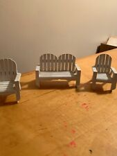VINTAGE Wood  DOLL HOUSE  FURNITURE WHITE Slatted Bench & Chairs B1