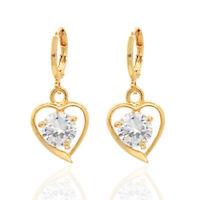 Women 18K Gold Plated Heart CZ Cubic Zirconia Drop Earrings Jewelry Ladies Girls