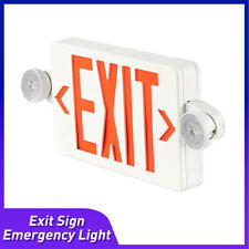 Red Led Exit Sign Emergency Light Hi Output Round Head Compact Combo Ul Listed