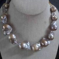 gorgeous 20-25mm south sea baroque silver grey pearl  necklace 18inch 925s