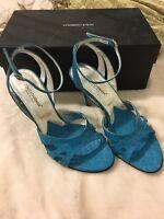 GUC Ladies/Women Dolce & Gabbana Turquoise Croc Print Strappy Heels. Size 37.