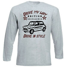 BRITISH LEYLAND MINI VINTAGE DRIVE MY WAY - GREY LONG SLEEVED TSHIRT- ALL SIZES