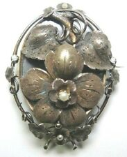 """Victorian Mourning 14K Rose Gold Brooch/Locket With Hook 2.23 x 1.73"""" Dia Pearls"""
