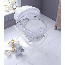 Izziwotnot Humphreys Corner Boys Sketchbook Moses Basket White Wicker + WASH SET