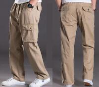 Men casual cargo pants overalls elastic waist pocket Sport cotton trousers L-6XL