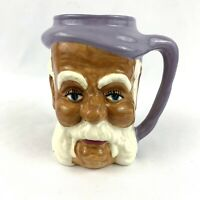 Vintage Toby Style Old Man Face White Beard Ceramic Mug Purple Handle 5 1/4""