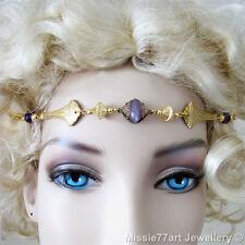 Gatsby Headpiece Gold plate Brass Art Nouveau Amethyst Bead Circlet Headband