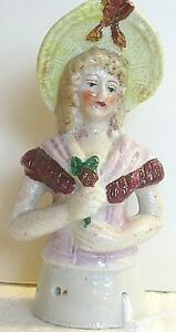 Antique H.K.  Pin Cushion Half-Doll Victorian Lady Farm Girl Type hand painted