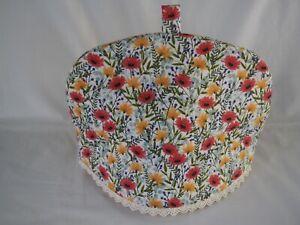 Handmade tea cosy, tea pot cover. Wildflowers print cotton. Fit 4-5 cup pot