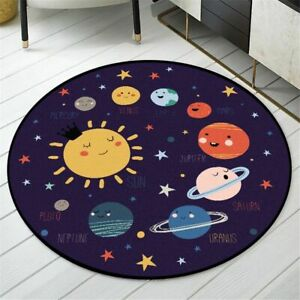 Cartoon Rug Round Space Planet Printed Childrens Rug Soft Non-slip Floor Carpet